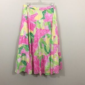 Lilly Pulitzer maxi pink floral skirt